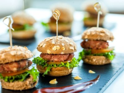 Close up of mini burgers siders for Taste of Lititz in PA