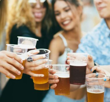 People toasting with beer glasses at Ephrata Brewfest