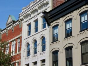 Beautiful old historic buildings in downtown Lancaster, Pennsylvania.
