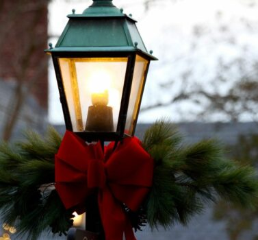 street lamp decorated for holidays