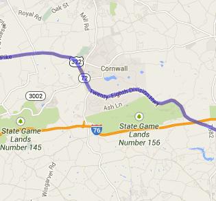 Ephrata to Hershey map