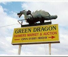 Green dragon sign
