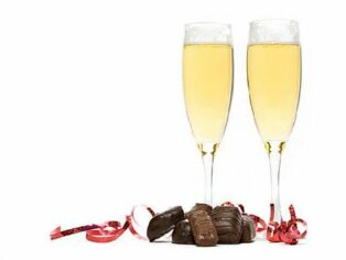 champagne flutes with chocolate truffles